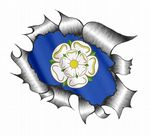 A4 Size Ripped Torn Metal Design With Yorkshire Rose County Flag Motif External Vinyl Car Sticker 300x210mm